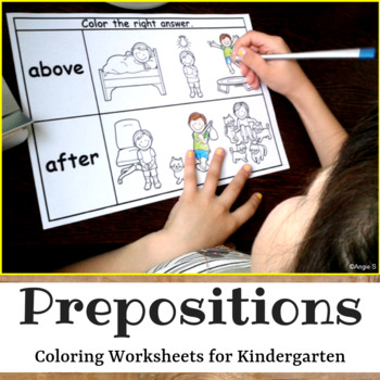Prepositions Worksheets - Color the Correct Answer