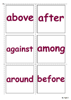 Prepositions Word to Picture Matching Activity