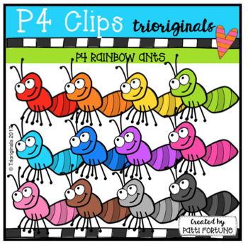 RAINBOW Ants (P4 Clips Triorginals Clip Art)