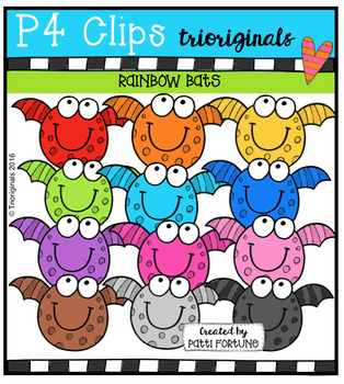 RAINBOW Bats (P4 Clips Trioriginals Digital Clip Art)