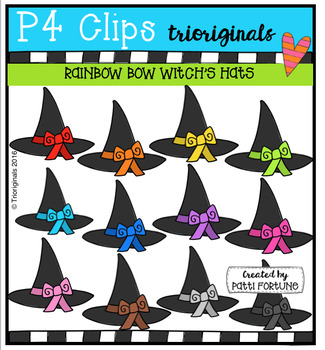 RAINBOW Bow Witch Hats (P4 Clips Trioriginals Digital Clip Art)