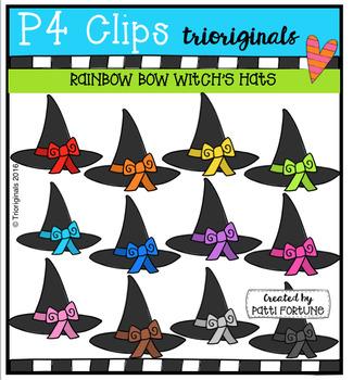 RAINBOW Bow Witch Hats (P4 Clips Trioriginals Digital Clip Art)