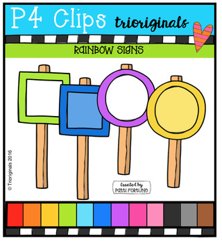 RAINBOW Signs (P4 Clips Trioriginals Digital Clip Art)
