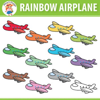 Rainbow Airplane Clipart