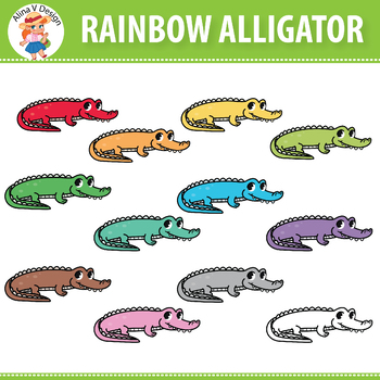 Rainbow Alligator Clipart