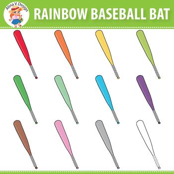 Rainbow Baseball Bat Clipart