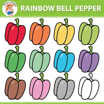 Rainbow Bell Pepper Clipart