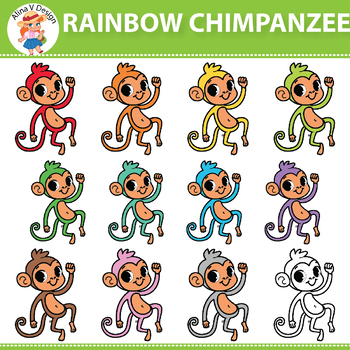 Rainbow Chimpanzee Clipart Set