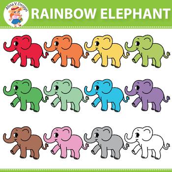 Rainbow Elephant Clipart
