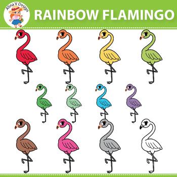 {50% OFF} Rainbow Flamingo Clipart