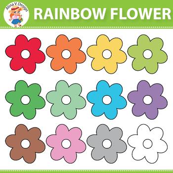 Rainbow Flower  Clipart