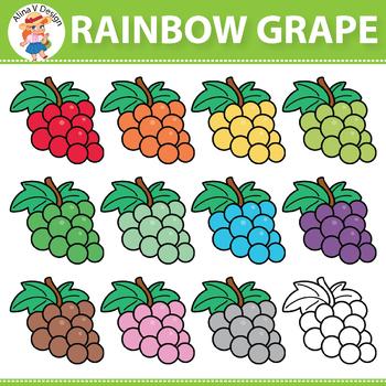 Rainbow Grape Clipart