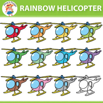 Rainbow Helicopter Clipart