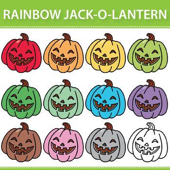 Rainbow Jack-o-Lantern Clipart