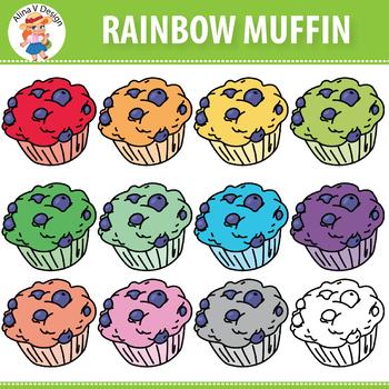 Rainbow Muffin Clipart