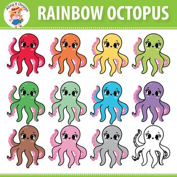 Rainbow Octopus Clip Art