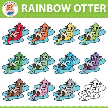 Rainbow Otter Clip Art