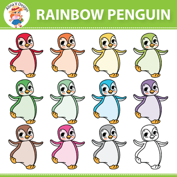 Rainbow Penguin Clipart