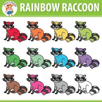 Rainbow Raccoon Clipart