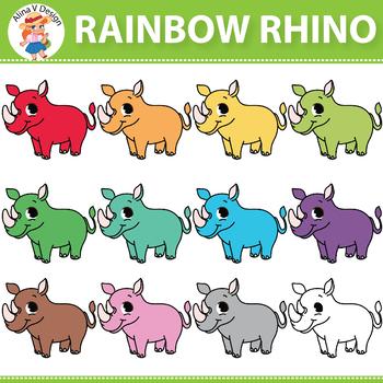 Rainbow Rhino Clipart