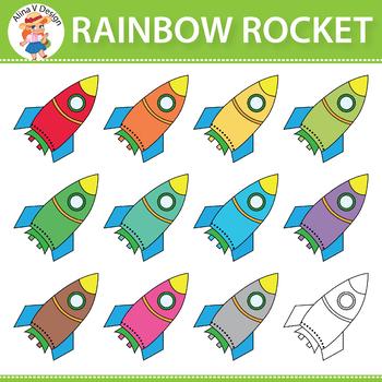 Rainbow Rocket Clipart
