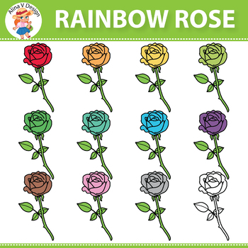 Rainbow Rose Clipart