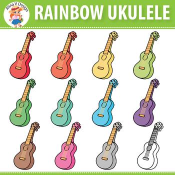 Rainbow Ukulele Clip Art