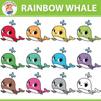 Rainbow Whale Clipart
