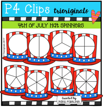 Red White and Blue Hat Spinners (P4 Clips Trioriginals Clip Art)