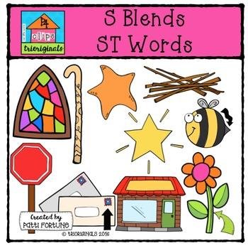 S Blends ST words {P4 Clips Trioriginals Digital Clip Art}