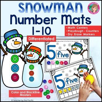 SNOWMAN Math Number / Playdough Mats 1-10 ~ Kindergarten Common Core