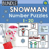 SNOWMAN Math Number Puzzles 1 – 20 - Ten Frames and Dice