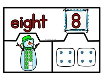 SNOWMAN Math Number Puzzles 1 ? 20 - Ten Frames and Dice