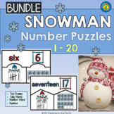 SNOWMAN Math Number Puzzles 1 – 20 - Ten Frames and Tally Marks