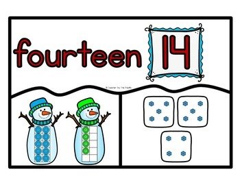 SNOWMAN Math Number Puzzles 11 – 20 - Ten Frames and Dice