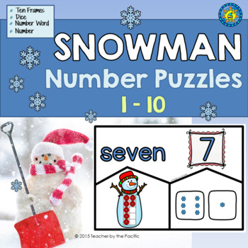 SNOWMAN Math Number Puzzles 1 – 10 - Ten Frames and Dice