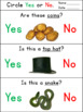 Saint Patrick`s Day Yes/No Questions for Special Education