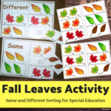 Same and Different Fall Leaves, Special Education Activity
