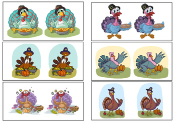 Same or Different- Turkeys, Thanksgiving Sorting Activity