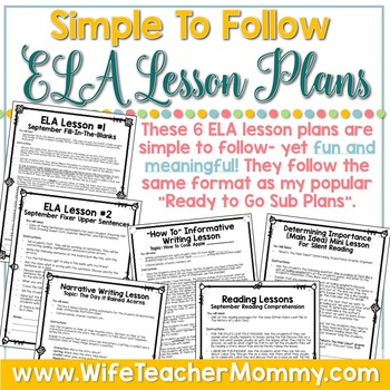 September Sub Plans ELA for 1st and 2nd Grade. Back to School