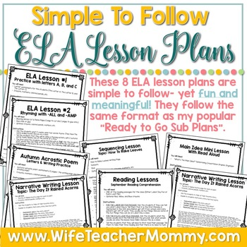 September Emergency Sub Plans ELA for Kindergarten. Back to School