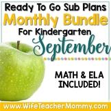 September Sub Plans Kindergarten Math & ELA Mini Bundle Fall Activities