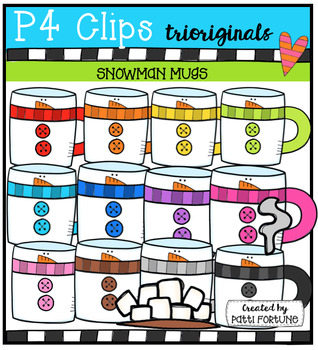 Snowman Mugs (P4 Clips Trioriginals Digital Clip Art)