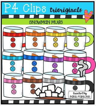 Snowman Mugs (P4 Clips Trioriginals Digital Clip Art)