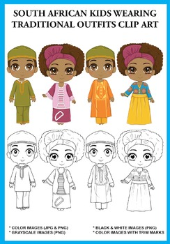 South African Kids wearing Traditional Outfits Clip Art