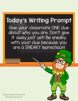 *50% OFF* St. Patrick's Day Writing Activity- Sneaky Leprechaun Writing Prompts