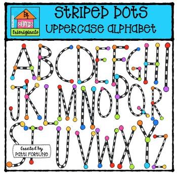 Stripe Alphabet Uppercase {P4 Clips Trioriginals Digital Clip Art}