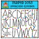 Striped Alphabet BUNDLE {P4 Clips Trioriginals Digital Clip Art}