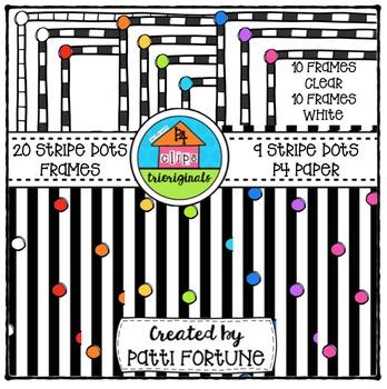 Striped Frames and P4 Paper {P4 Clips Trioriginals Digital Clip Art}
