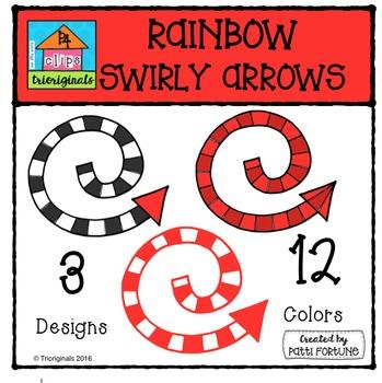 Striped Swirly Arrows {P4 Clips Trioriginals Digital Clip Art}